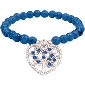 Color life Albero della vita bracciale in argento e zirconi con agata sfaccettata blu