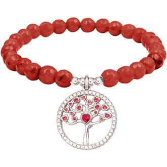 Color life Albero della vita bracciale in argento e zirconi con agata sfaccettata rosso