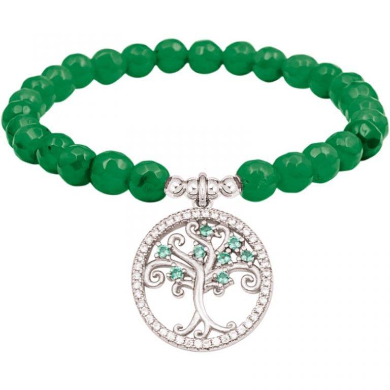 Color life Albero della vita bracciale in argento e zirconi con agata sfaccettata verde