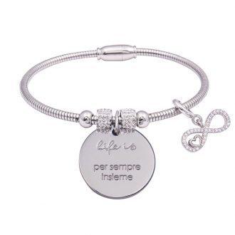 Life Is bracciale messaggio con scritte charm zirconi per sempre insieme