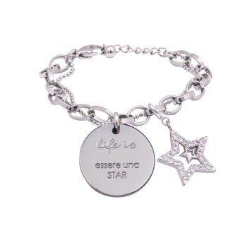 Life Is bracciale messaggio con scritte charm zirconi essere una star