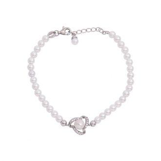 Lady bracciale argento zircone shell pearls
