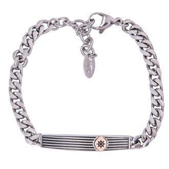 Route braccialetto acciaio smalto ip nero e rosa