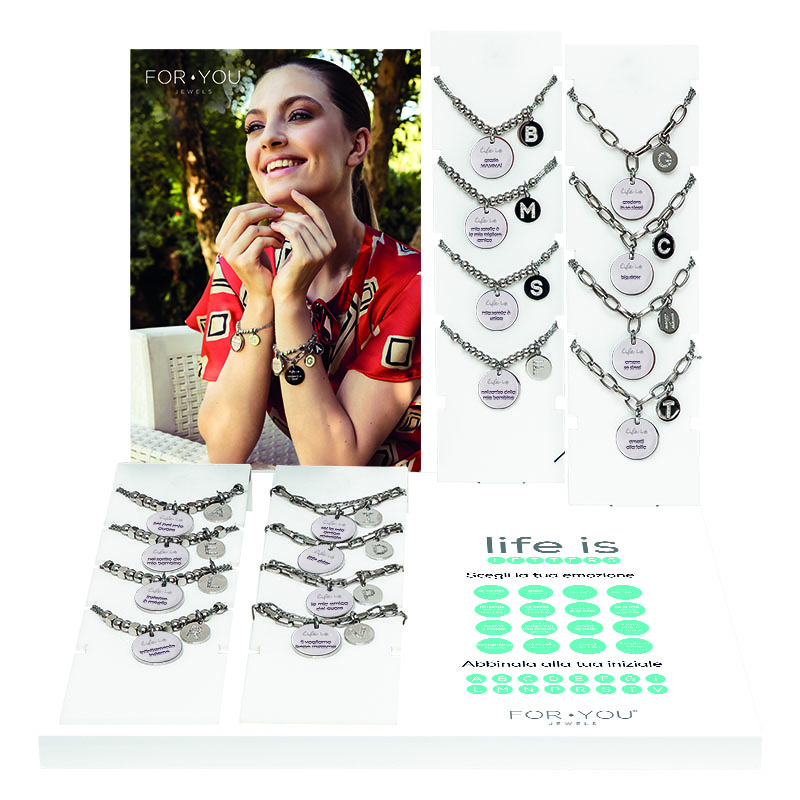 FOTO ESPOSITORE LIFE IS LETTERS FOR YOU JEWELS