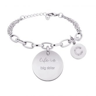 Life is Letters bracciale con medaglietta big sister e charm in zirconi For You Jewels