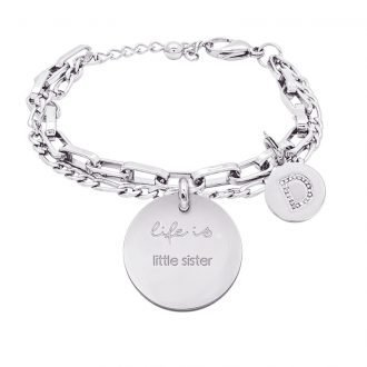 Life is Letters bracciale con medaglietta little sister e charm in zirconi For You Jewels