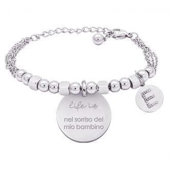 Life is Letters bracciale con medaglietta del mio bambino e charm in zirconi For You Jewels