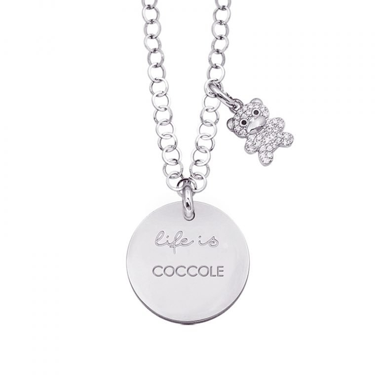 Life is Enjoy collana con medaglietta coccole e charm in zirconi For You Jewels