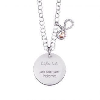 Life is Enjoy collana con medaglietta per sempre insieme e charm in zirconi For You Jewels