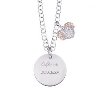 Life is Enjoy collana con medaglietta dolcezza e charm in zirconi For You Jewels