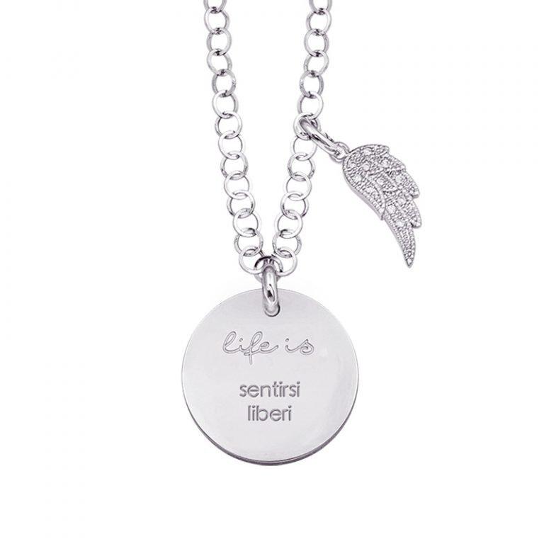 Life is Enjoy collana con medaglietta sentirsi liberi e charm in zirconi For You Jewels