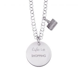 Life is Enjoy collana con medaglietta shopping e charm in zirconi For You Jewels